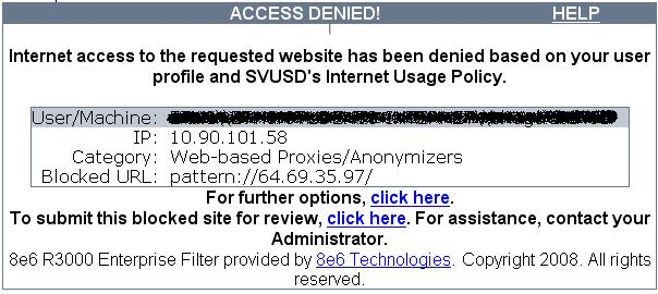 If You Try To Access A Site Blocked By R3000 Youll Get Message Something Like This